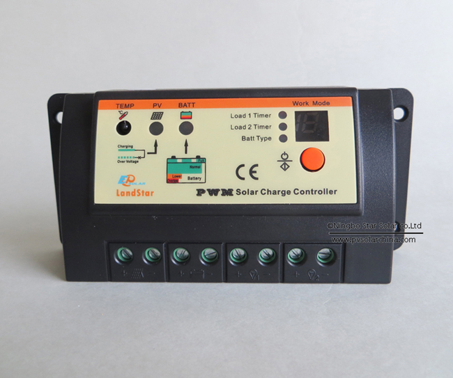 LS1024RD Landstar 10A 12V 24V Solar Charge Controller for two lamp